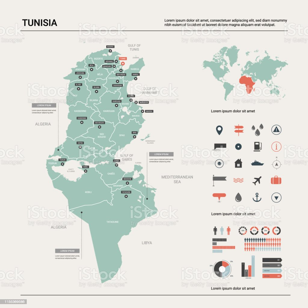 Image of: Vector Map Of Tunisia Country Map With Division Cities And Capital Tunis Political Map World Map Infographic Elements Stock Illustration Download Image Now Istock