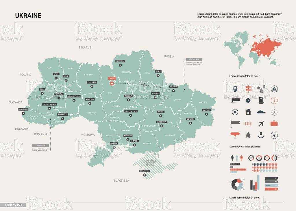 Ukraine Carte Du Monde.Carte Vectorielle De Lukraine Carte De Pays Avec La Division