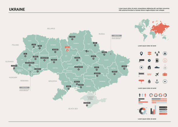 烏克蘭的向量圖。國家地圖與分裂, 城市和資本基輔。政治地圖, 世界地圖, 資訊圖元素。 - 烏克蘭 幅插畫檔、美工圖案、卡通及圖標
