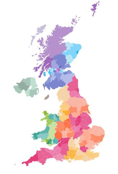 ilustrações, clipart, desenhos animados e ícones de mapa do vetor de divisões administrativas de portugal coloridas por países e regiões. mapa de distritos e condados de inglaterra, país de gales, escócia e irlanda do norte - reino unido