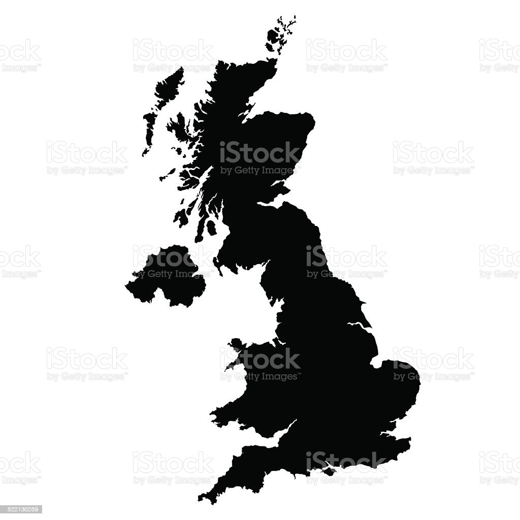 vector map of United Kingdom vector art illustration