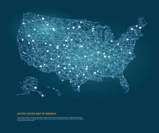 vektorkarte von usa-karte von amerika mit leuchtenden punkten. - kartographie stock-grafiken, -clipart, -cartoons und -symbole