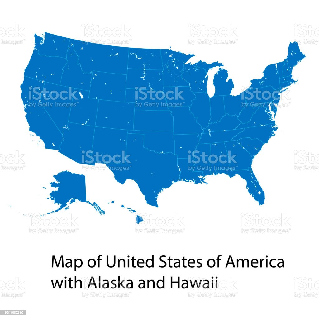Vector Map Of United States Of America With Alaska And Hawaii Stock ...