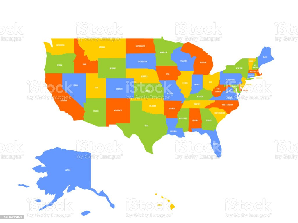 Vector Map Of Usa United States Of America Stock Illustration ...