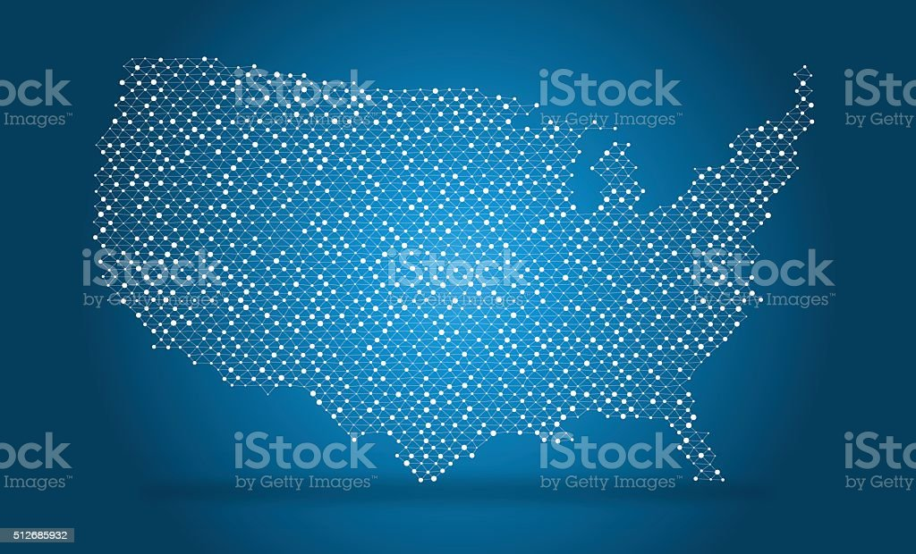 Vector map of USA, wire mesh with dots and lines vector art illustration