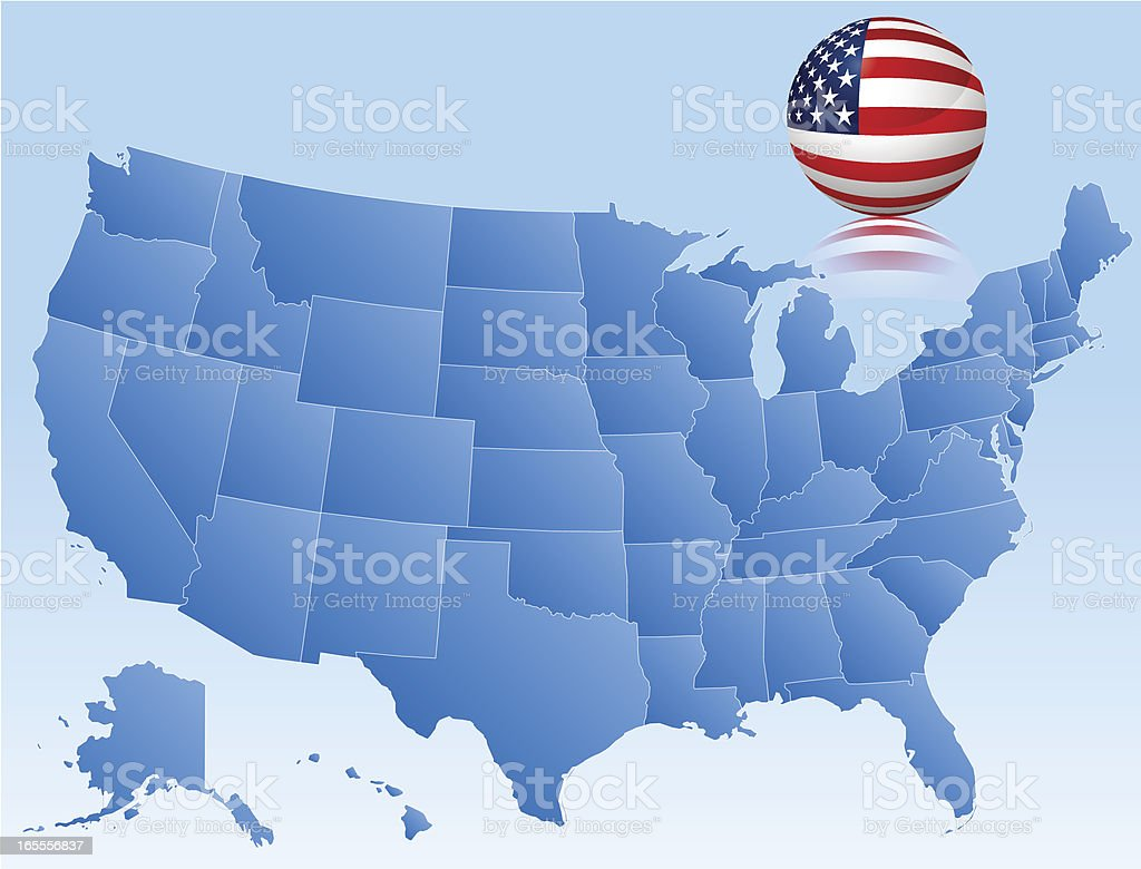 Vector Map of USA with 3D Glass Flag royalty-free stock vector art