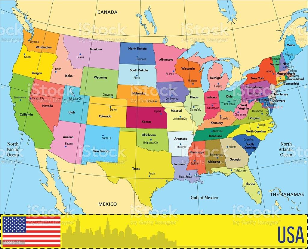 Wektor Mapa Usa Z Członkowskich Stockowa Ilustracja Wektorowa - Usa mapa