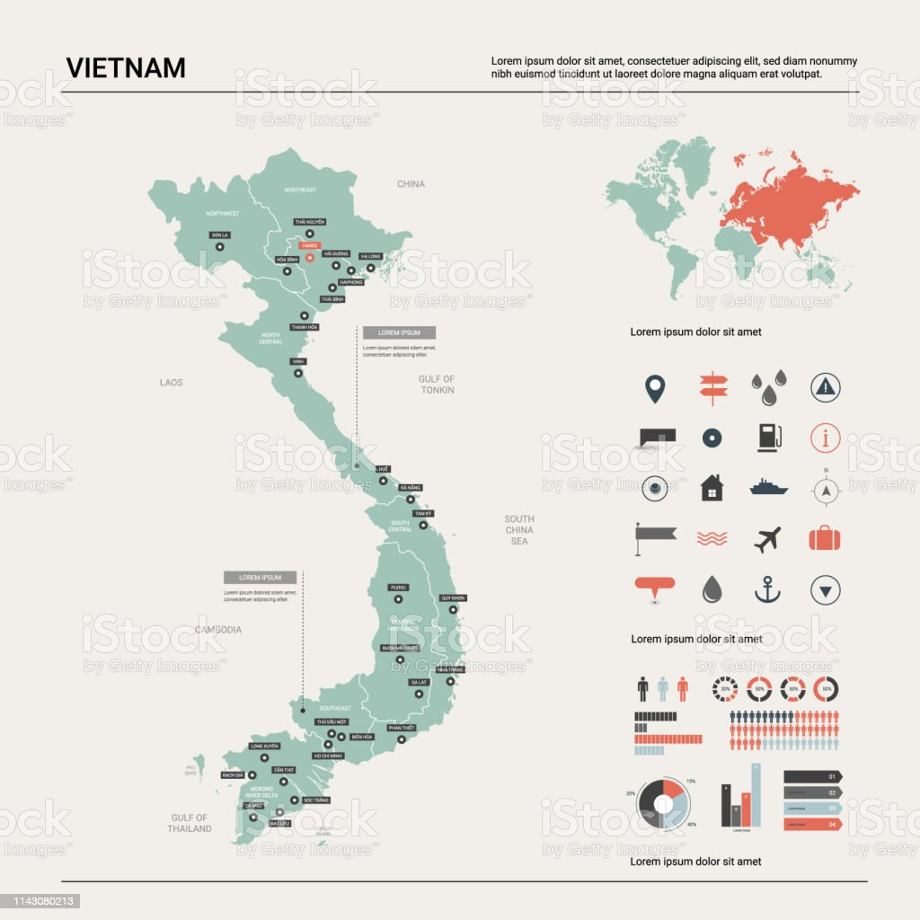 Vector Map Of Vietnam High Detailed Country Map With ...