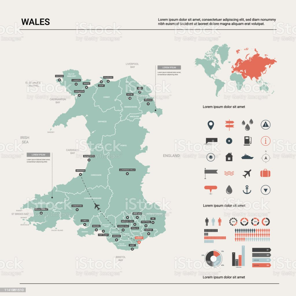 Vector Map Of Wales High Detailed Country Map With Division Cities ...