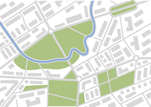 vector map Editable vector street map of town. Vector illustration. urban road stock illustrations