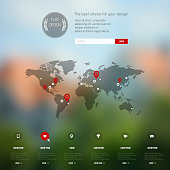 Corporate website design. Blurred background. Web media backdrop. Infographics with data icons.