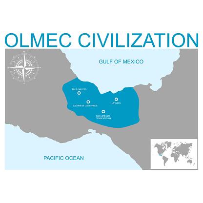 vector map with heartland of Olmec civilization