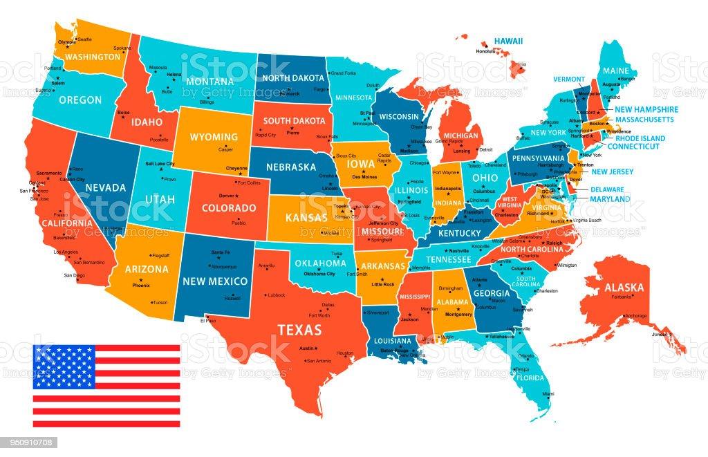 USA Vector Map with Navigational Icons