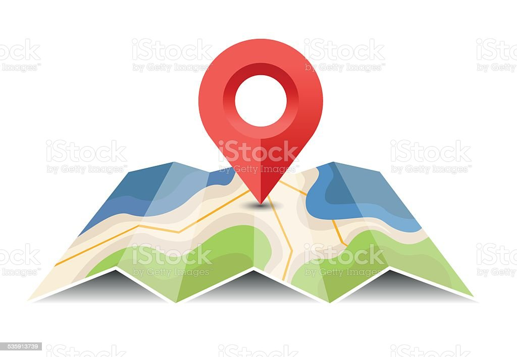 Vector map with pin pointer - Illustration