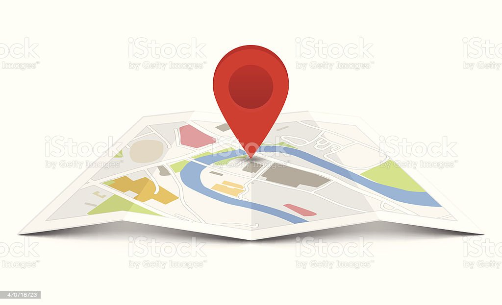 Vector map with pin pointer vector art illustration