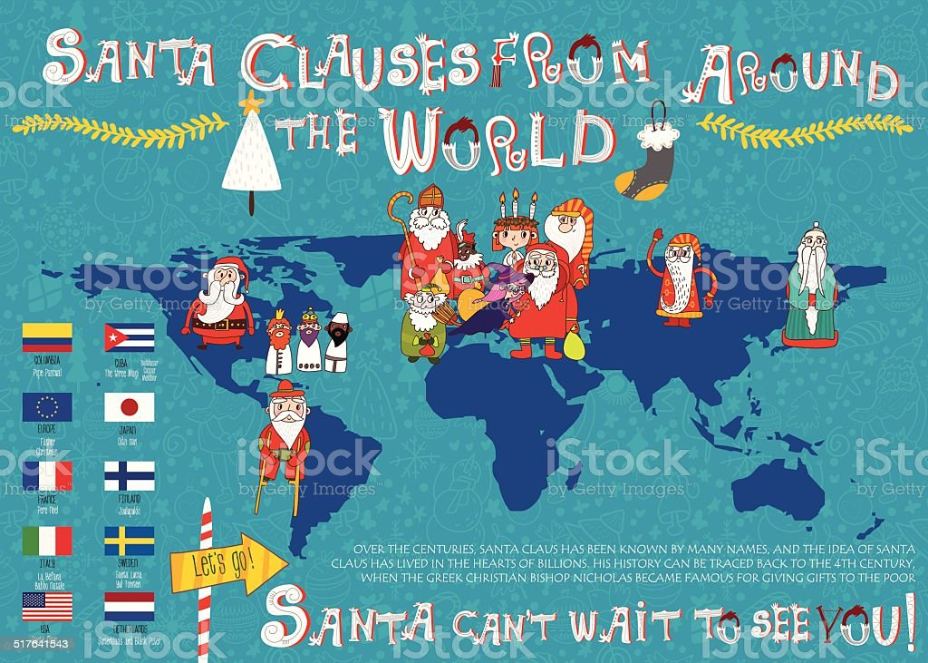 Vector map.A look at Santa Clauses from Around the World.