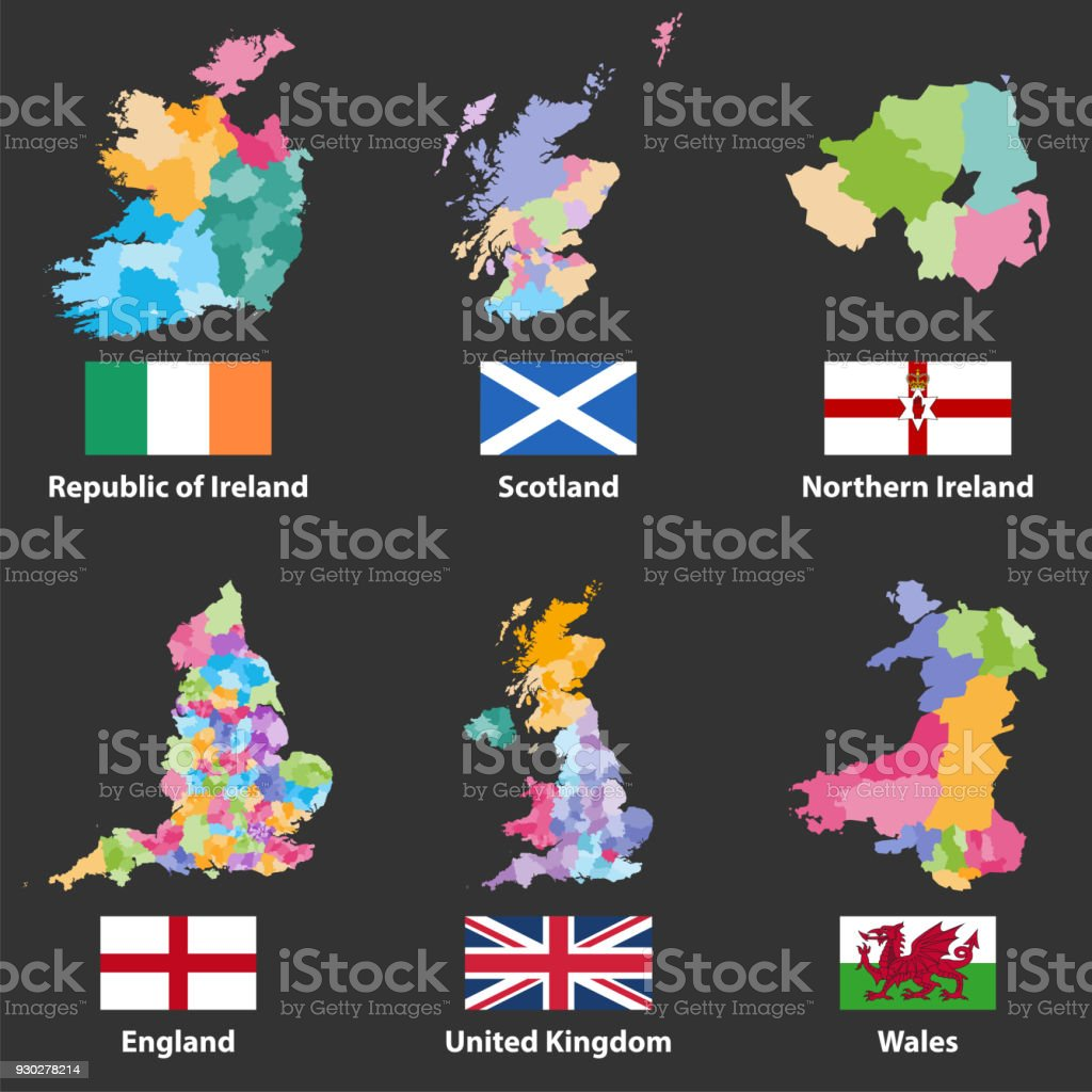 Map Of England Ireland Scotland Wales.Vector Maps And Flags Of Republic Of Ireland Scotland Northern