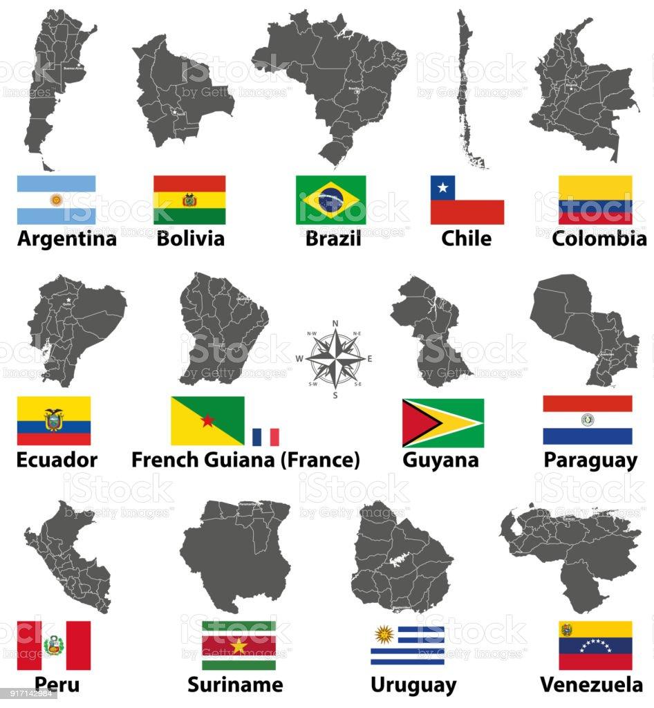 vectores de mapas y banderas de países de América del sur - ilustración de arte vectorial