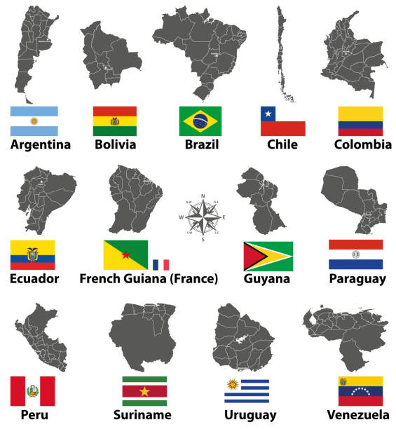 vector maps and flags of South American countries vector art illustration