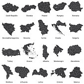 vector maps of Europe countries