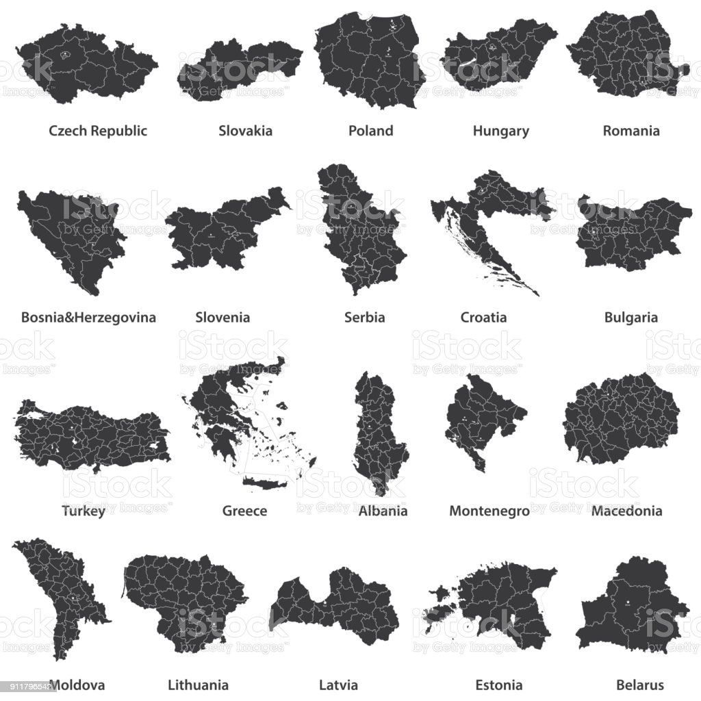vector maps of Europe countries vector art illustration