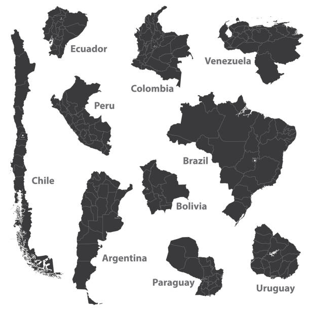 vector maps of South American countries vector art illustration