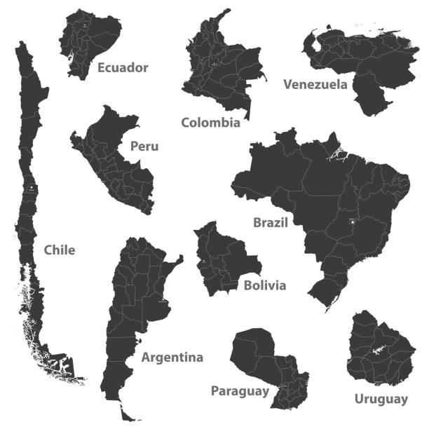 illustrations, cliparts, dessins animés et icônes de cartes vectorielles des pays d'amérique du sud - argentine