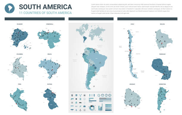 vector maps set.  high detailed 11 maps of south america countries with administrative division and cities. political map, map of america  continent, world map, globe, infographic elements. - south america maps stock illustrations