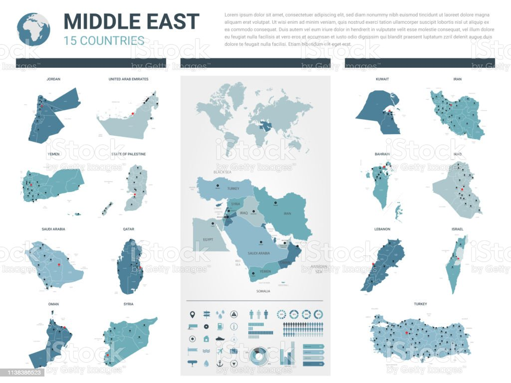 Vector Maps Set High Detailed 15 Maps Of Middle East ...