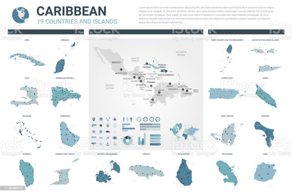 Aruba Karte Karibik.Vector Maps Gesetzt Sehr Detaillierte 19 Karten Der Karibischen