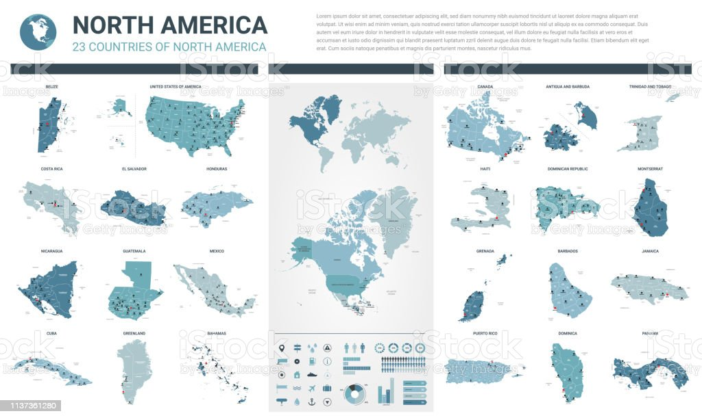 Vector maps set.  High detailed 23 maps of North American countries with administrative division and cities. Political map, map of America continent, world map, globe, infographic elements. royalty-free vector maps set high detailed 23 maps of north american countries with administrative division and cities political map map of america continent world map globe infographic elements stock illustration - download image now
