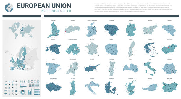 vector maps set.  high detailed 28 maps of european union countries (member states) with administrative division and cities. political map, map of europe , world map, globe, infographic elements. - holandia stock illustrations