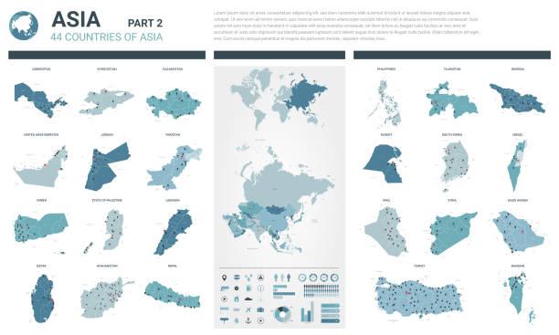 vector maps gesetzt.  hochdetaillierte 44 karten asiatischer länder mit verwaltungsabteilung und städten. politische landkarte, landkarte des asiatischen kontinents, weltkarte, globus, infographische elemente.  teil 2. - kasachstan stock-grafiken, -clipart, -cartoons und -symbole