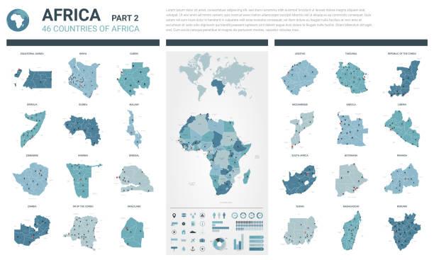 bildbanksillustrationer, clip art samt tecknat material och ikoner med vektor kartor har angetts.  högt specificerat 46 kartlägger av afrikanska länder med administrativ uppdelning och städer. politisk karta, karta över afrika kontinent, världs karta, jordglob, infographic element.  del 2. - south africa