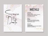 Vector marble tender rose acohol ink elements with golden copper foil and text. Wedding invitation template, menu design. Rose gold pastel soft design.