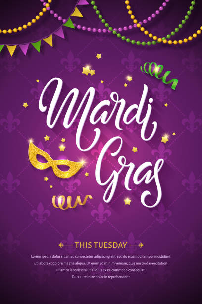 Vector Mardi gras brochure. Mardi gras brochure. Fat tuesday greeting card with handwritten lettering logo and golden mask. Shining beads and flags on traditional colors background mardi gras stock illustrations