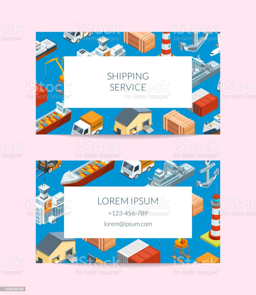 Vector Marine Logistics Company Business Card Set Stock Illustration -  Download Image Now