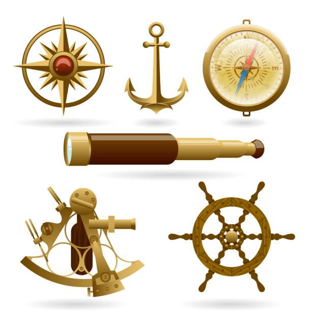 ilustrações de stock, clip art, desenhos animados e ícones de vector marine navigation icon set isolated on white background. windrose, anchor, compass and other objects - sextante