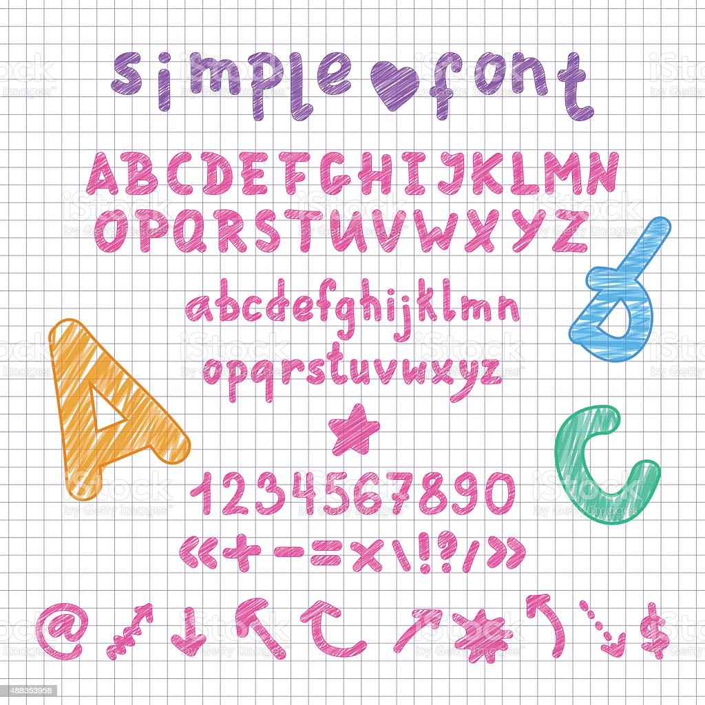 Vector marker scribble english alphabet, numbers and shapes vector art illustration