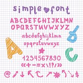 Vector marker scribble english alphabet, numbers and shapes