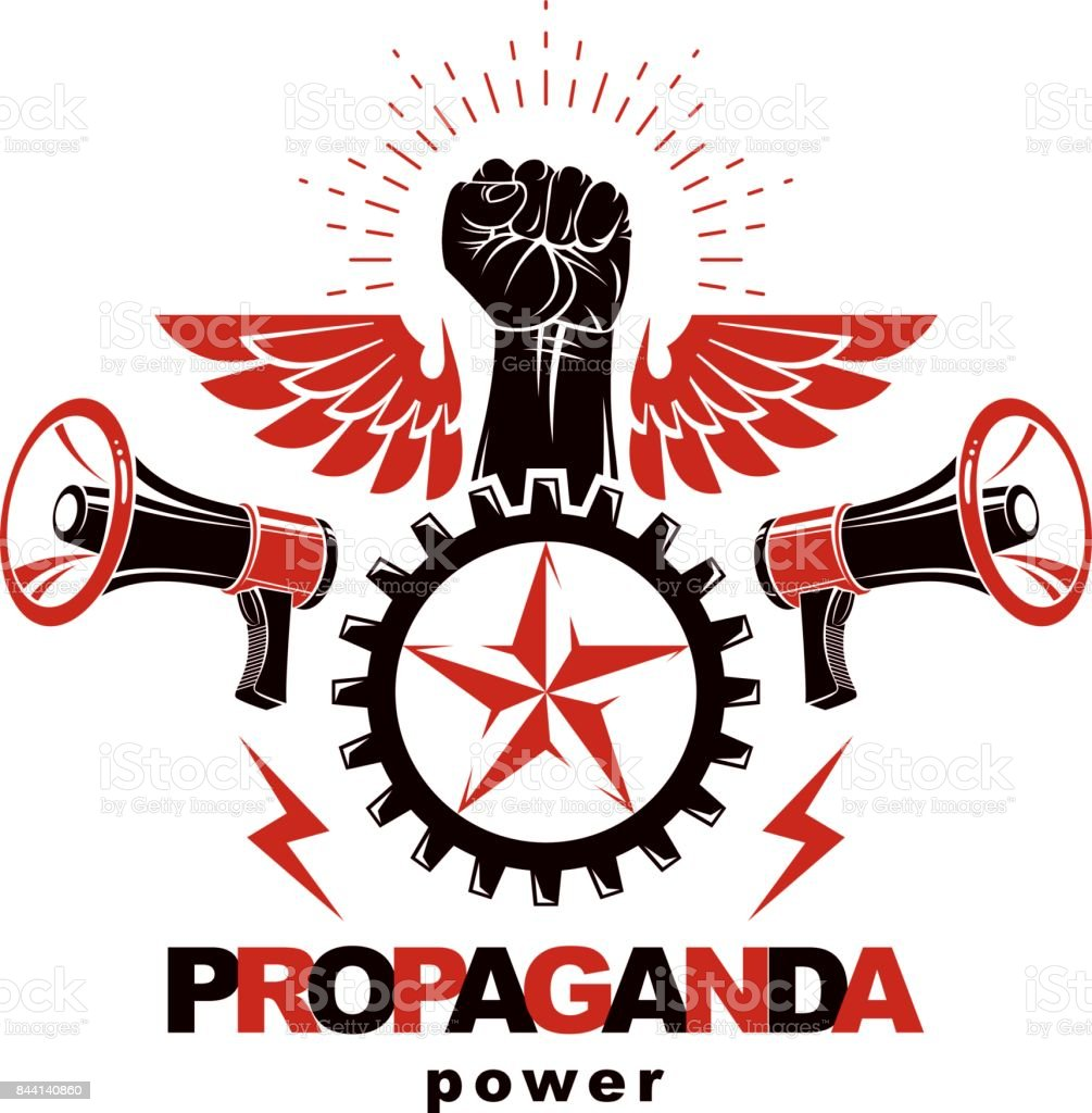 Vector marketing banner created using clenched fists raised up, loudspeaker equipment and engineering cog wheel element. Proletarian revolution, no limits and restrictions concept. vector art illustration