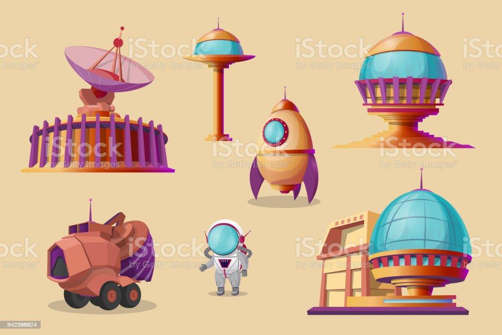 Vector mars colonization cartoon set. Futuristic colony vector art illustration