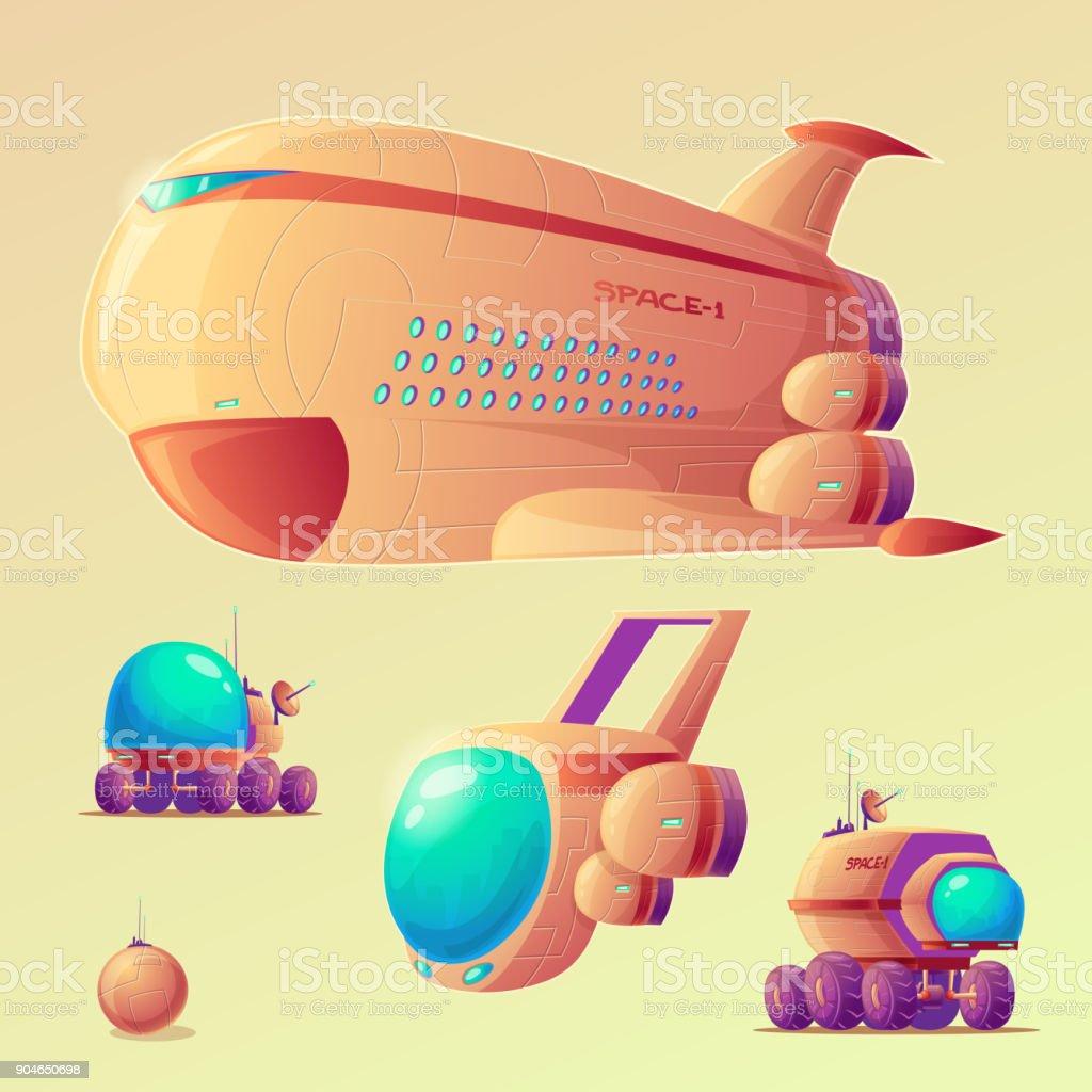 Vector mars colonization objects set vector art illustration