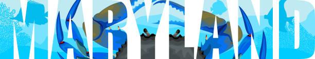 vektor-maryland - amerikanischen staat wort mit blaue krabbe - buchten stock-grafiken, -clipart, -cartoons und -symbole