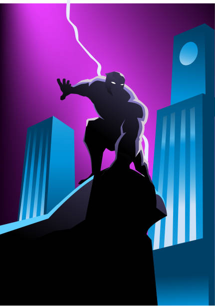 illustrazioni stock, clip art, cartoni animati e icone di tendenza di vector masked superhero silhouette in the city at night - gargoyle