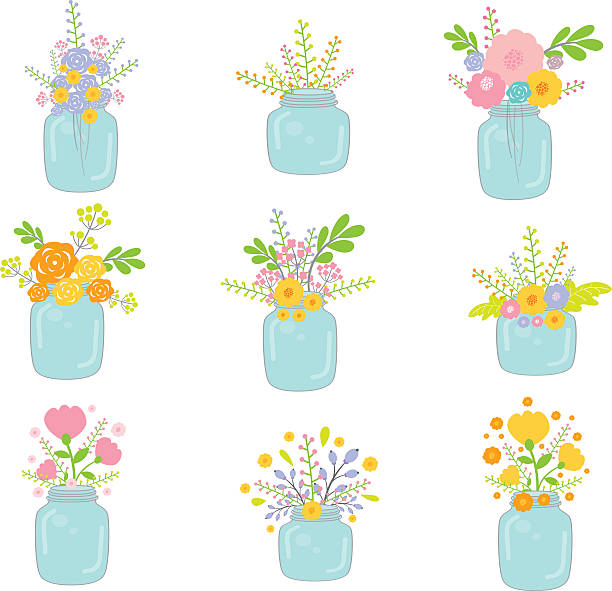 Vector Mason Jars With Flowers Vector Mason Jars With Flowers trillium stock illustrations