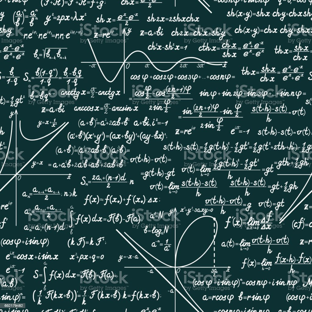 Vector mathematical seamless pattern Vector mathematics seamless pattern with different signs, figures, formulas and graphs of functions. Math green chalkboard background Algebra stock vector