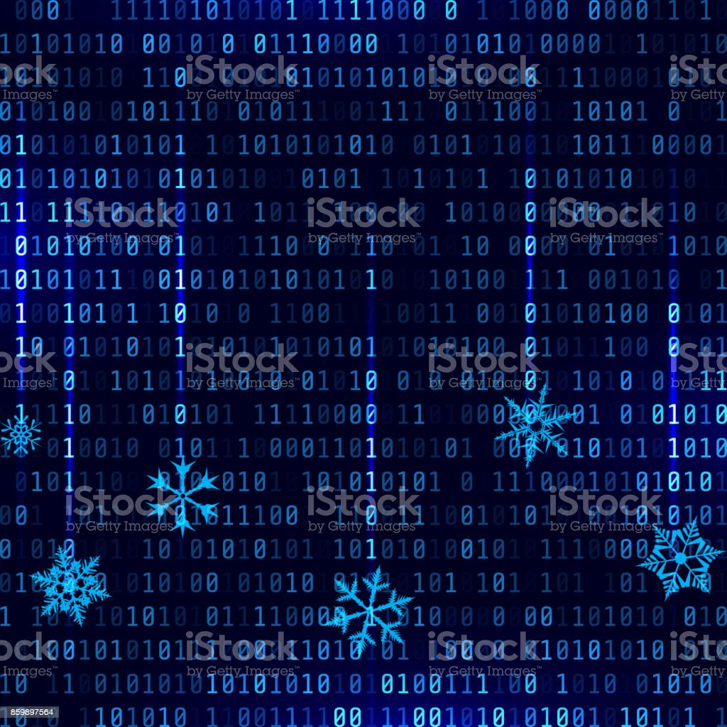 Vector matrix style binary background with falling snowflakes vector art illustration