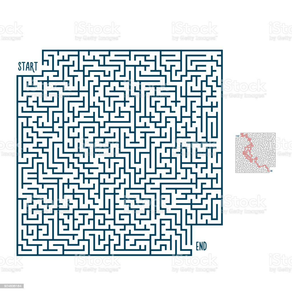 Vector Maze With Solution Labyrinth Template For Entertainment And ...