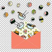 Vector meal rolls sushi set in paper mail envelope